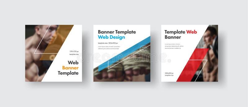 Vita fyrkantiga rengöringsdukbaner för design för socialt massmedia med stället för foto, diagonala genomskinliga färgbeståndsdel royaltyfri illustrationer