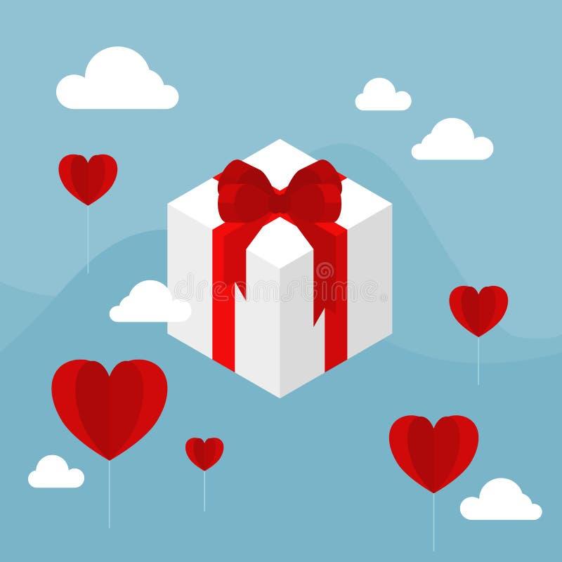 Vita gåvaaskar med det röda pilbågebandet som svävar i den blåa himlen, dekorerar med molnet och den röda ballongen för hjärtafor vektor illustrationer