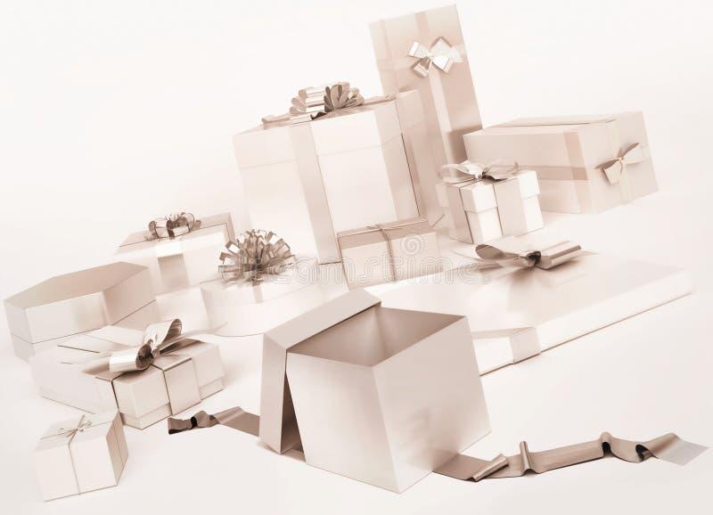 Vita gåvaaskar med silverpilbågar stock illustrationer