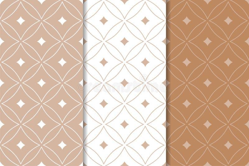 Vita geometriska prydnader för brunt och mönsan den seamless seten vektor illustrationer