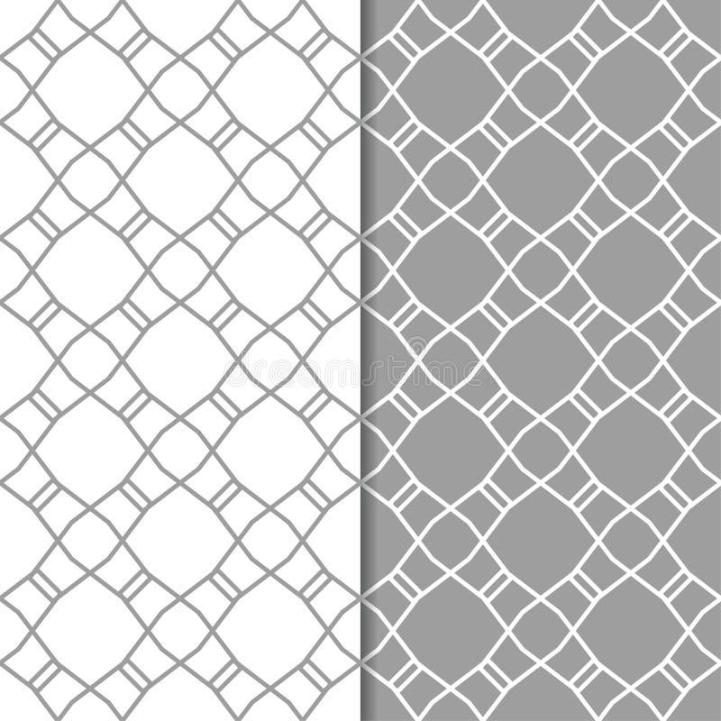 Vita geometriska prydnader för grå färger och mönsan den seamless seten stock illustrationer