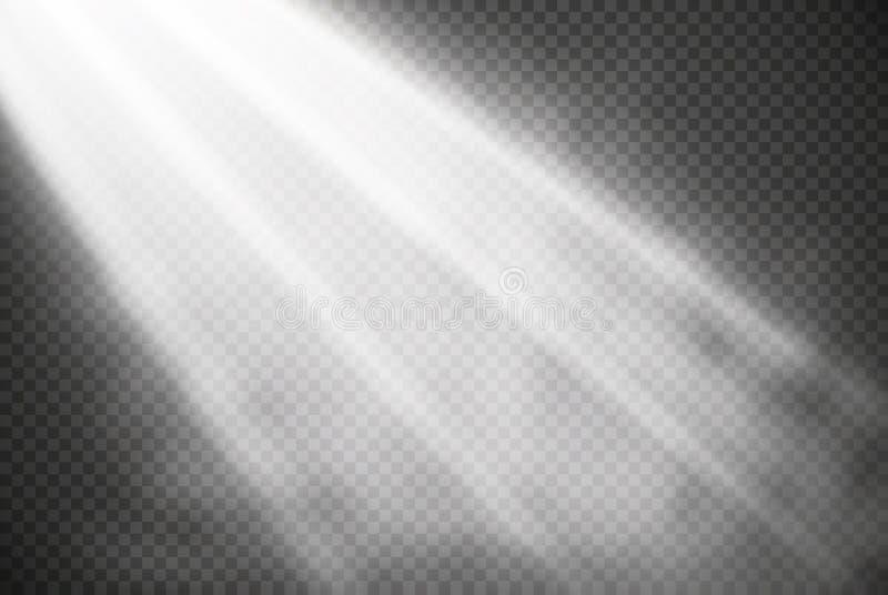 Vita glödande isolerade ljuseffekter på genomskinlig bakgrund Solexponering med strålar och strålkastaren Ljus effekt för glöd vektor illustrationer
