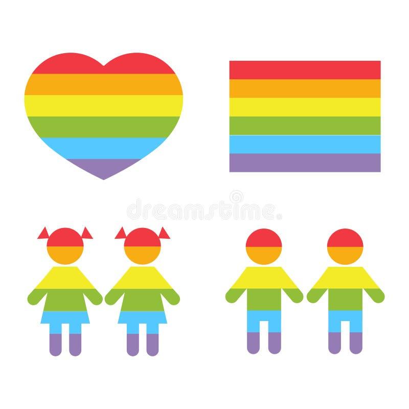 Vita glade för rättraibow för familj LGBT symboler royaltyfri illustrationer