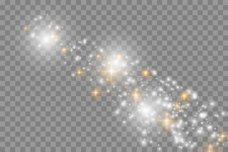 Vita gnistor blänker special ljus effekt Vektorn mousserar på genomskinlig bakgrund stock illustrationer