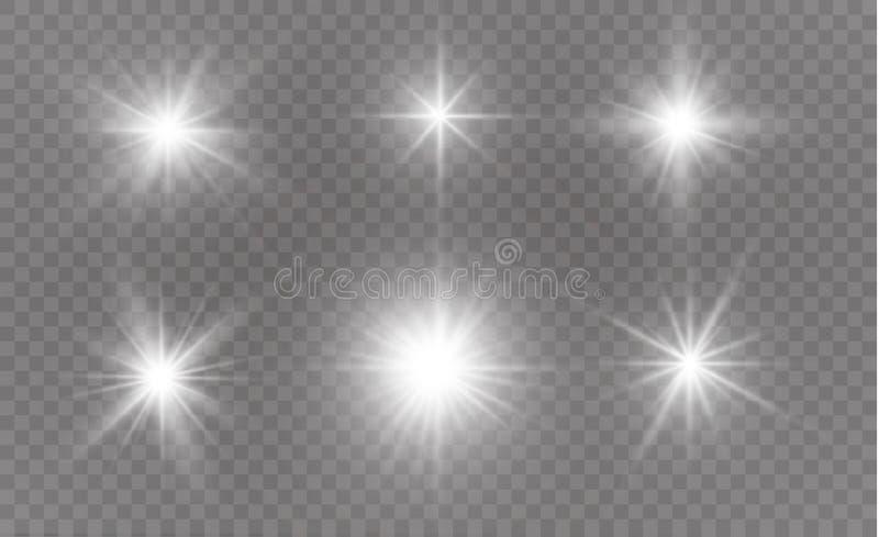 Vita gnistor blänker special ljus effekt Vektorn mousserar på genomskinlig bakgrund Julabstrakt begreppmodell royaltyfri illustrationer