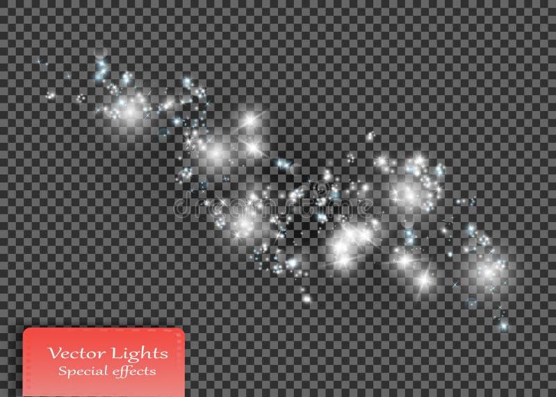 Vita gnistor och stjärnor blänker special ljus effekt Mousserande magiska dammpartiklar royaltyfri illustrationer