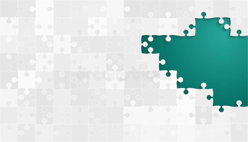 Vita Grey Puzzles Pieces - vektor Teal Jigsaw royaltyfri illustrationer