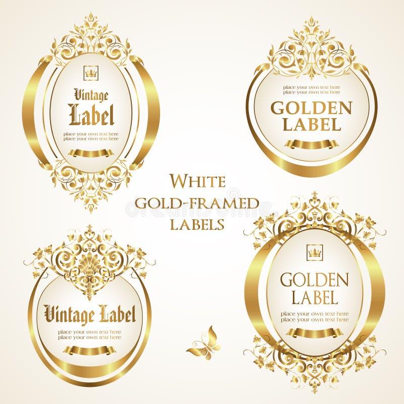 Vita guld-inramade och dekorerade etiketter - vektordesign royaltyfri illustrationer