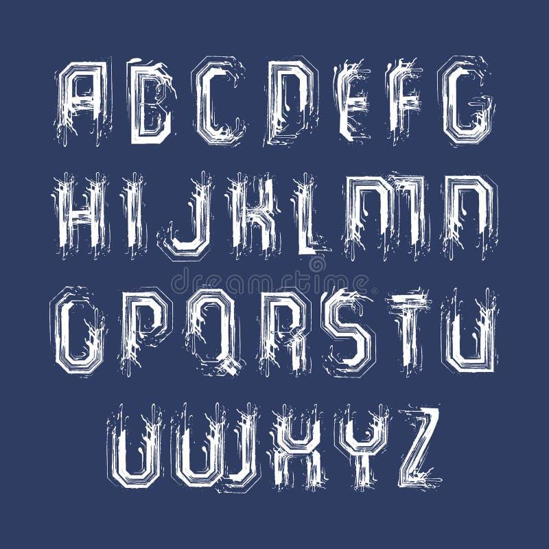 Vita handskrivna små bokstäver, typescr för vektorklotterborste royaltyfri illustrationer