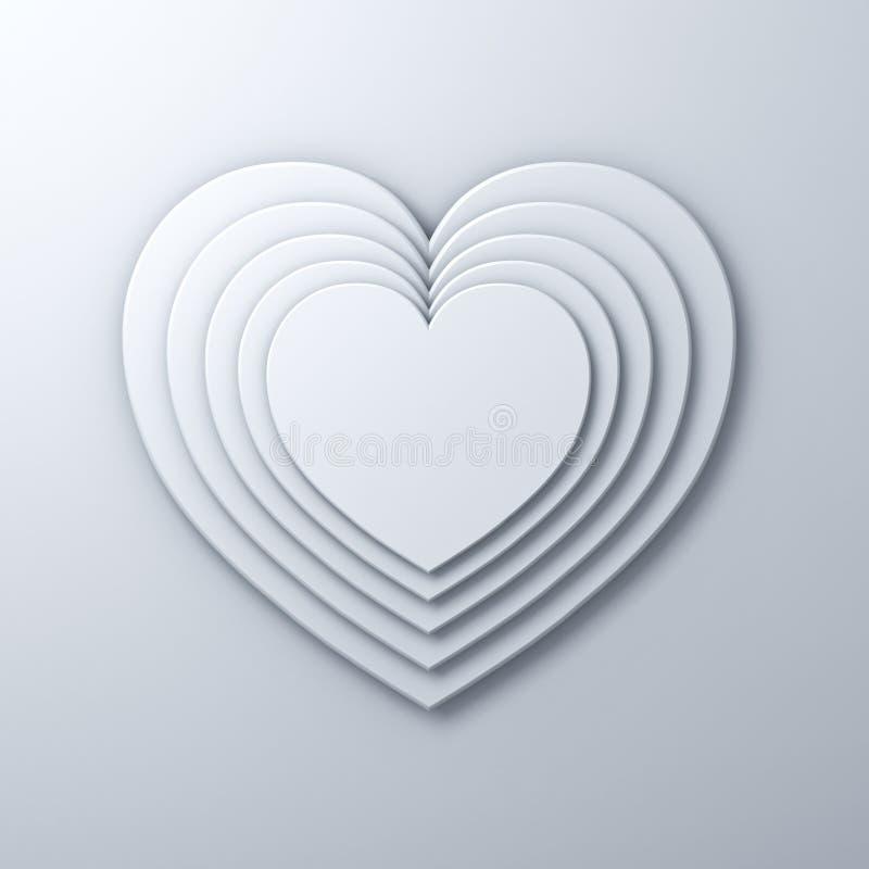 Vita hjärtaformlager på vit väggbakgrund med skugga, tolkning för valentindagbakgrund 3D royaltyfri illustrationer