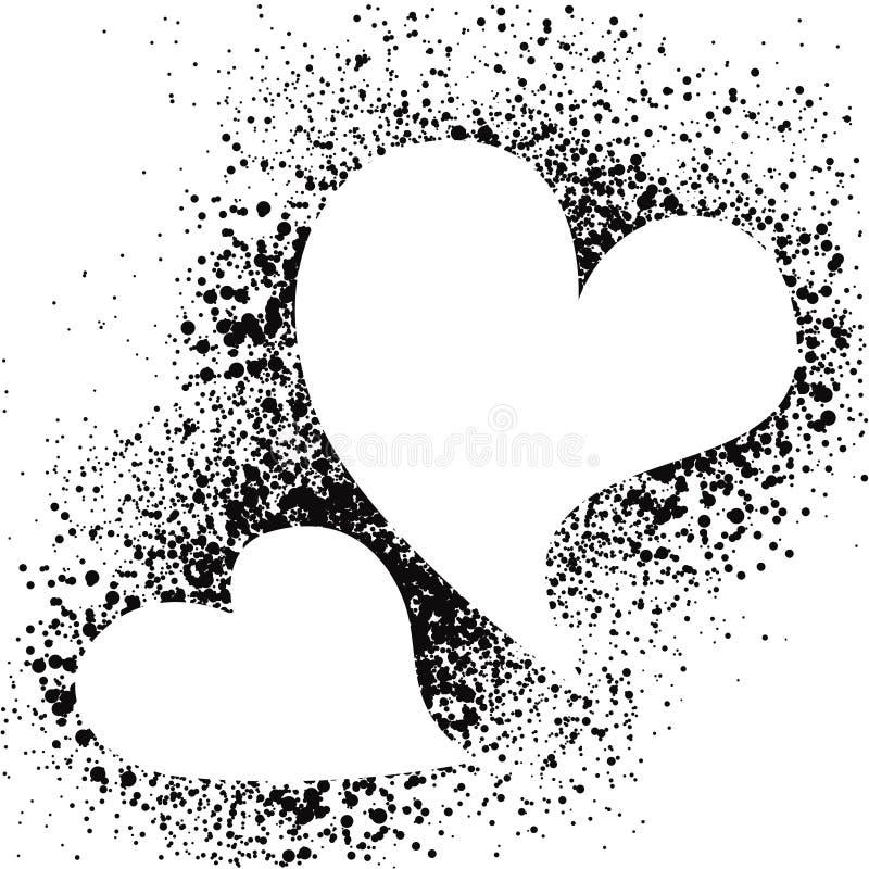 Vita hjärtor på sprejgrunge plaskar bakgrund royaltyfri illustrationer