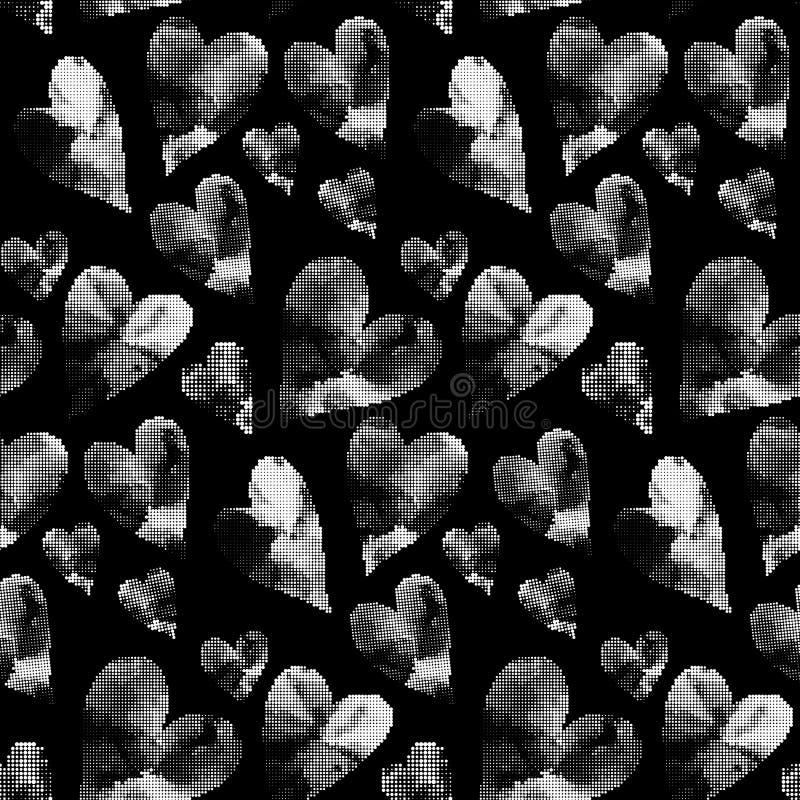 Vita hjärtor som göras från många runda prickar stock illustrationer
