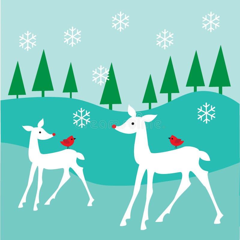 Vita hjortar vektor illustrationer