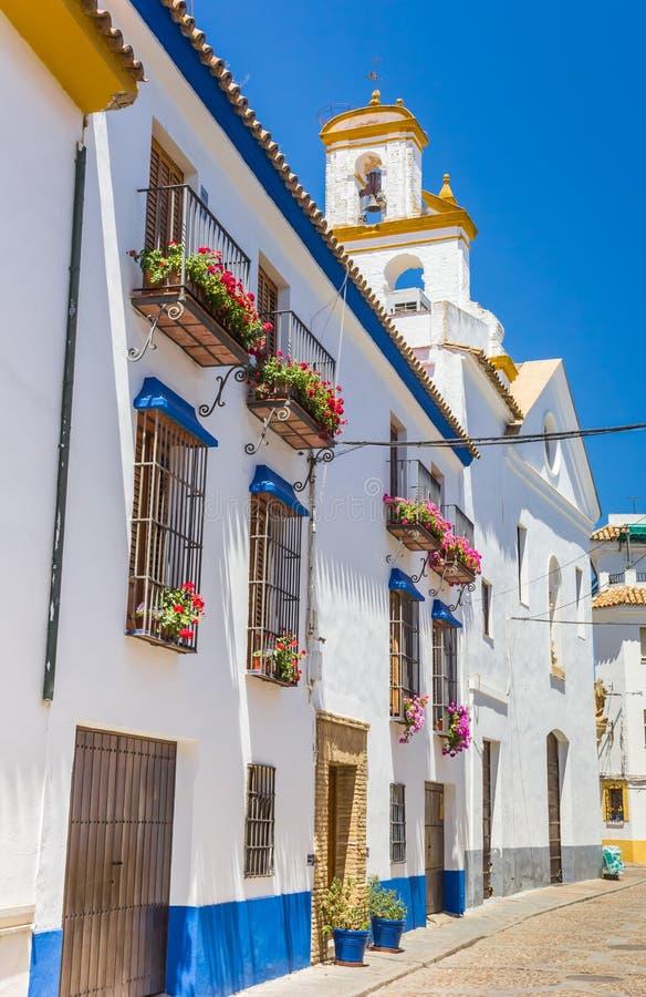 Vita hus och färgrika blommor i gatorna av Cordoba royaltyfri fotografi