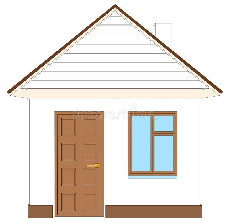 Vita Huset med den bruna dörren också vektor för coreldrawillustration royaltyfri illustrationer