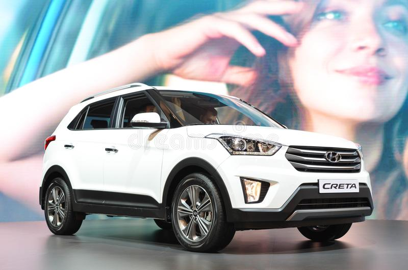 Vita Hyundai Creta på MIAS 2016 royaltyfria bilder