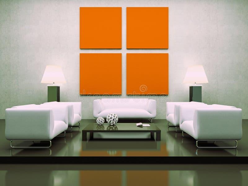 vita inre moderna sofas royaltyfri illustrationer