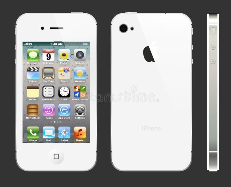 Vita IPhone 4S med profil stock illustrationer