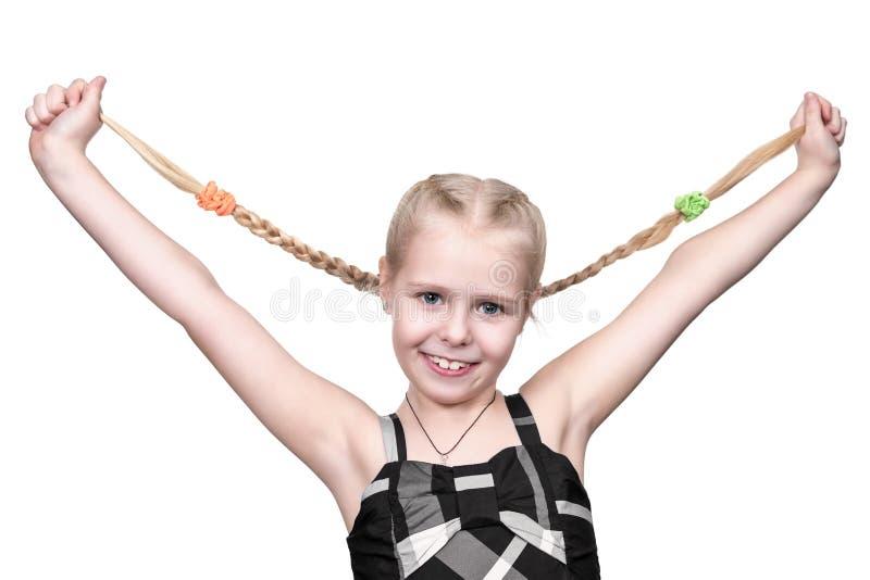 vita isolerade pigtails för bakgrund flicka arkivfoton