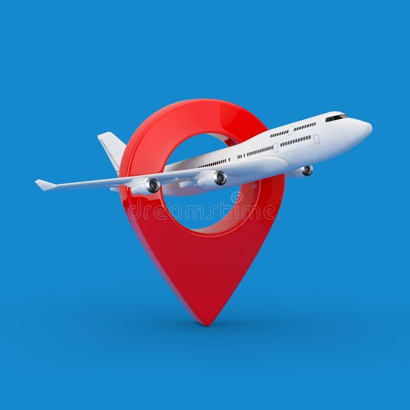 Vita Jet Passenger \ 's-flygplan med målet Pin Map Pointer framförande 3d stock illustrationer