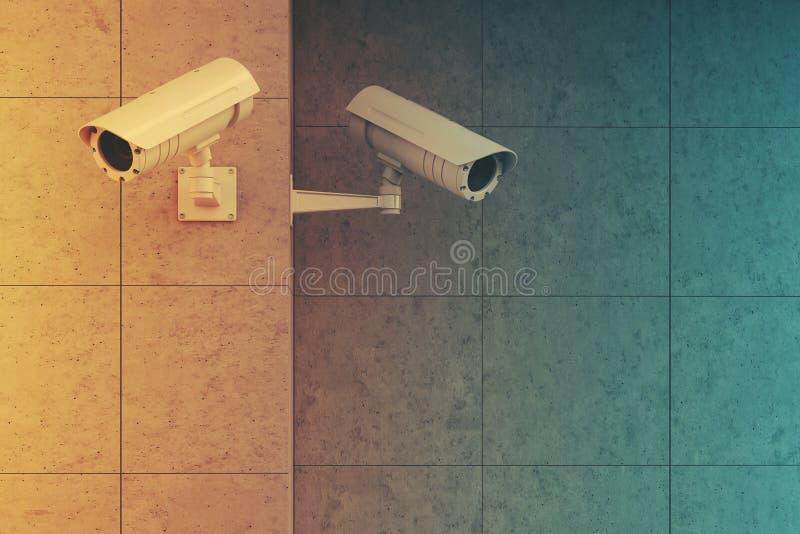 Vita kameror på en tonad grå vägg stock illustrationer