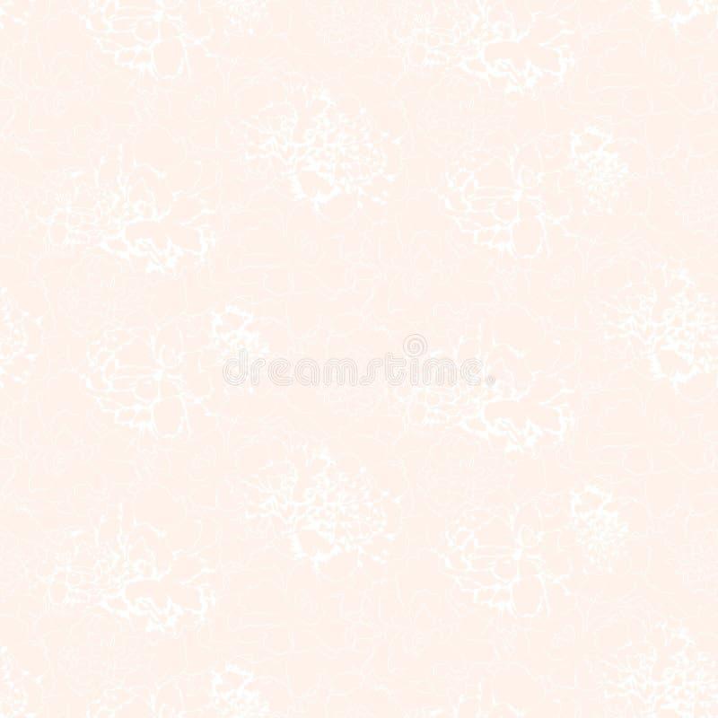 Vita konturer av abstrakta blommor på rosa bakgrund för softness royaltyfri illustrationer