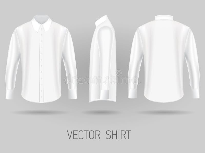 Vita korta långa mallar för muffskjortadesign Vektoråtlöje upp royaltyfri illustrationer
