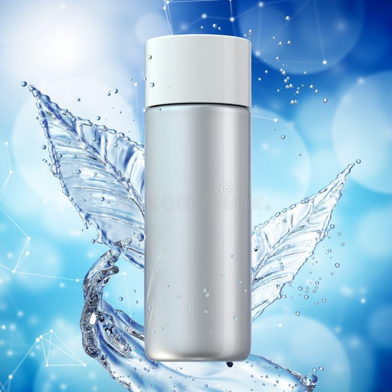Vita kosmetiska produkter med vattenf?rgst?nk p? cyan bakgrund vektor illustrationer