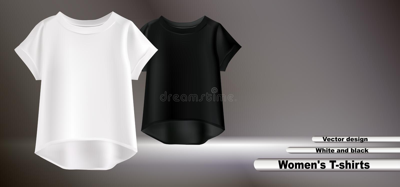 Vita kvinnors för vektordesign t-skjorta stock illustrationer