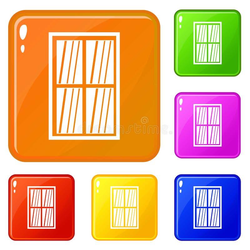 Vita latticed rektangelfönstersymboler ställde in vektorfärg royaltyfri illustrationer