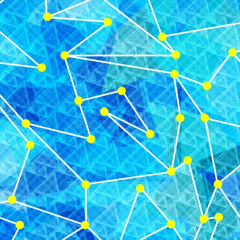 Vita linjer och gulingcirklar på en blå geometrisk bakgrundsvektorillustration stock illustrationer
