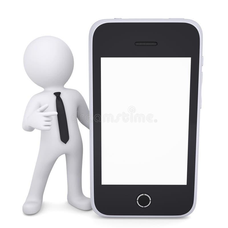 vita mannen 3d pekar ett finger till smartphonen royaltyfri illustrationer