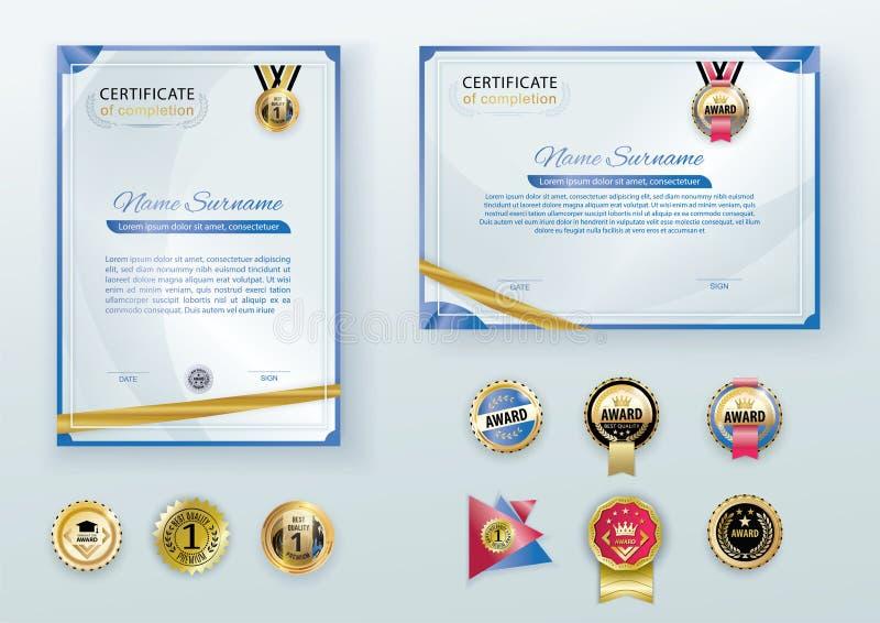 Vita moderna certifikat med det abstrakta guld- bandet och uppsättningen av emblem Horisontal och vertikal mall med den blåa rame royaltyfri illustrationer