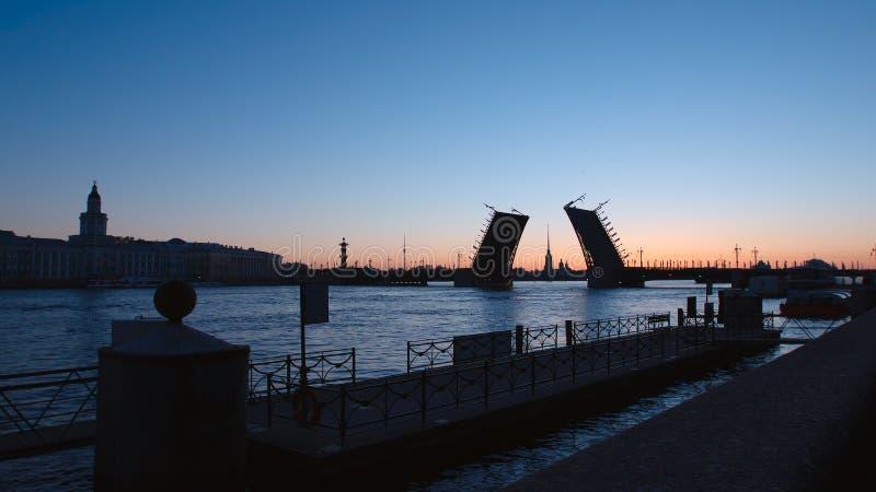 VITA NÄTTER: Kontur av Kunstkamer, slottbro och invallning av den Neva floden - St Petersburg, Ryssland arkivfoton