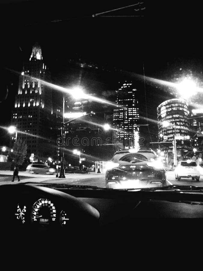 Vita notturna di Kansas City, Mo fotografia stock libera da diritti