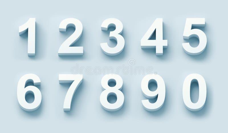 vita nummer som 3d ställs in stock illustrationer