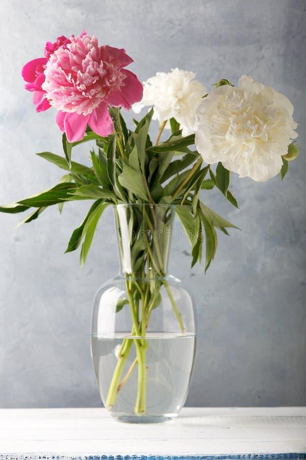 Vita nya härliga blommor och rosa pioner på den gamla trätabellen arkivfoton