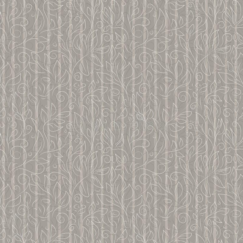 Vita och gråa konturer av abstrakta blommor och sidor på aska-färgad bakgrund stock illustrationer