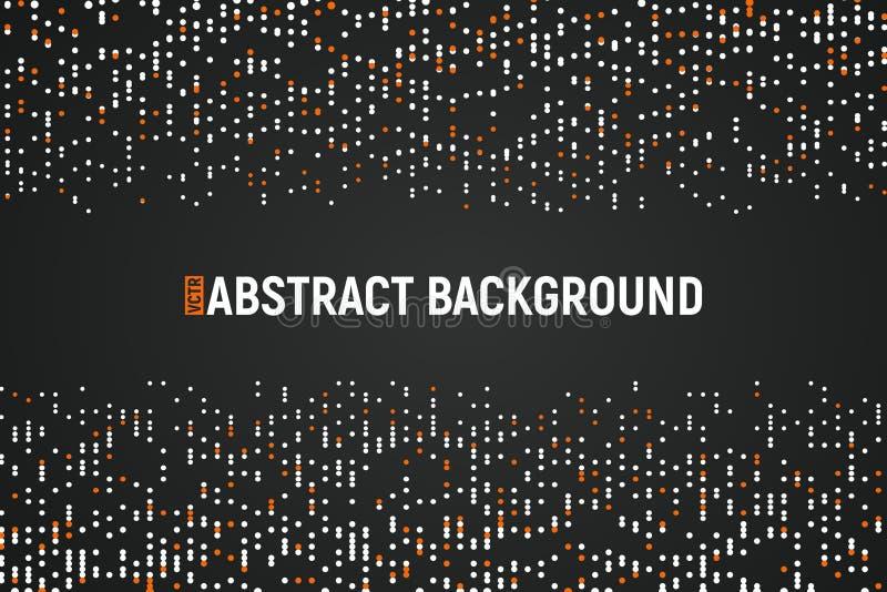 Vita och orangefärgade vektorpolka-punkter på mörk bakgrund Utformning av informationsteknik Teknikens abstrakta bakgrund stock illustrationer