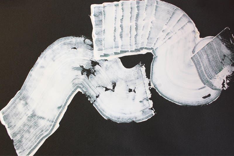 Vita och svarta borsteslaglängder på kanfas abstrakt konstbakgrund F?rgtextur Fragment av konstverk abstrakt kanfasm?lning royaltyfri illustrationer