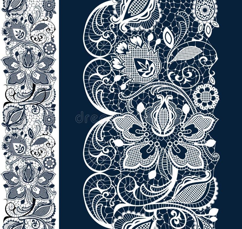 Vita och svarta seamless snör åt royaltyfri illustrationer