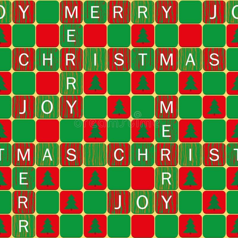 Vita ord för glad jul och för glädje på röd patchwordstil, gröna tegelplattor med julgranar Sömlös vektormodell på vektor illustrationer
