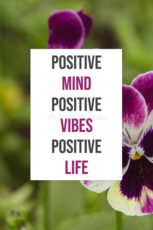 Vita positiva del manifesto di vibrazioni positive positive ispiratrici di mente fotografia stock libera da diritti