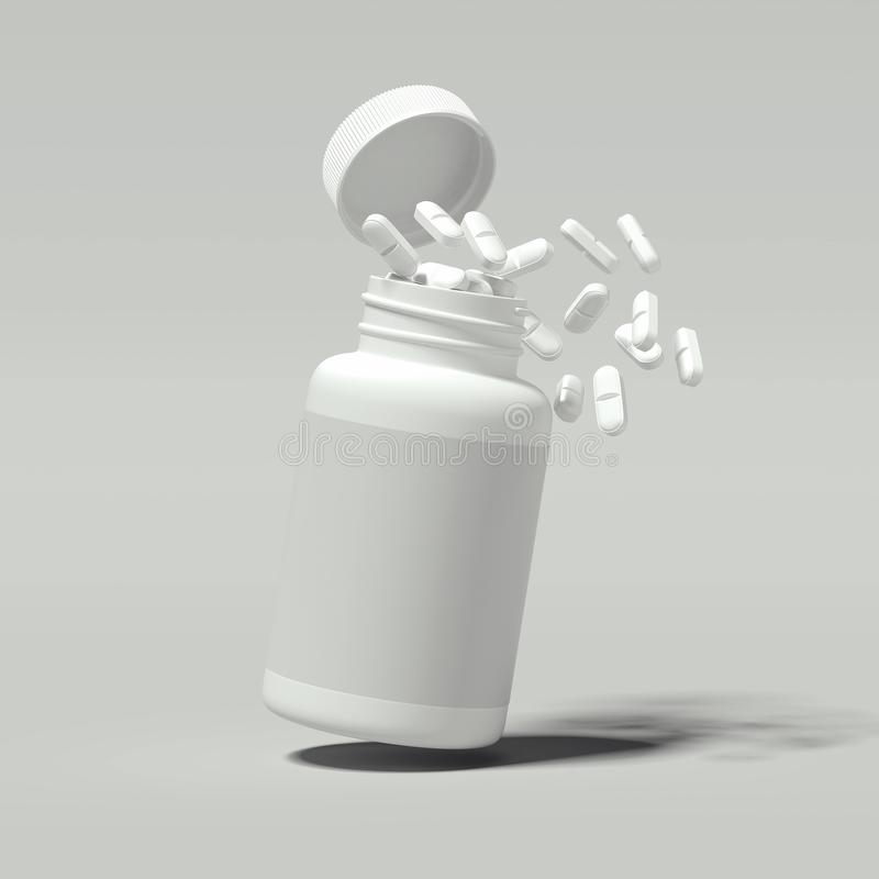 Vita preventivpillerar som spiller ut ur den vita flaskan, tolkning 3d royaltyfri illustrationer