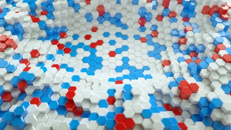 Vita röda och blåa sexhörningsformer 3D framför illustrationen vektor illustrationer
