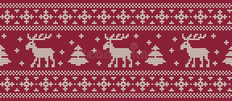 vita röda stjärnor för abstrakt för bakgrundsjul mörk för garnering modell för design Stucken modell med deers och granträd på en royaltyfri illustrationer