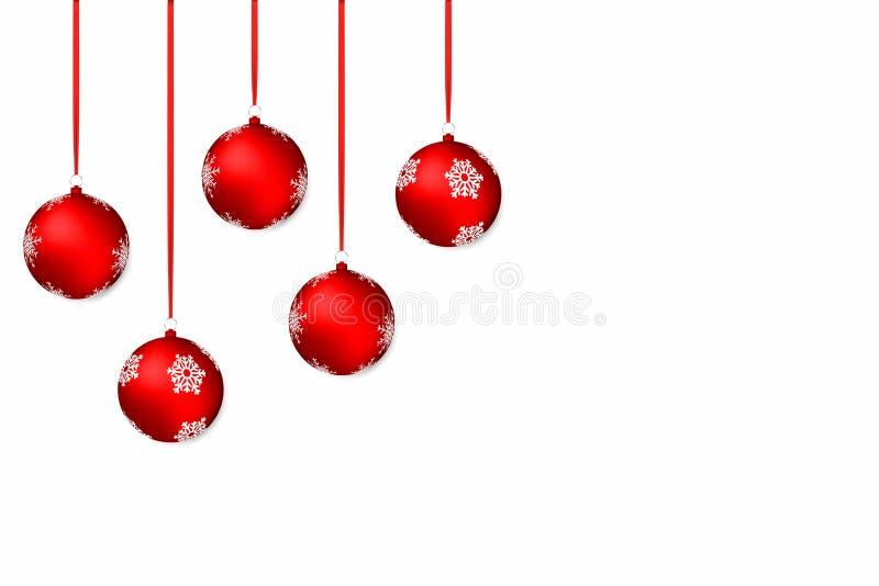 vita röda stjärnor för abstrakt för bakgrundsjul mörk för garnering modell för design Vit feriebakgrund med röda julbollar och ba royaltyfri illustrationer