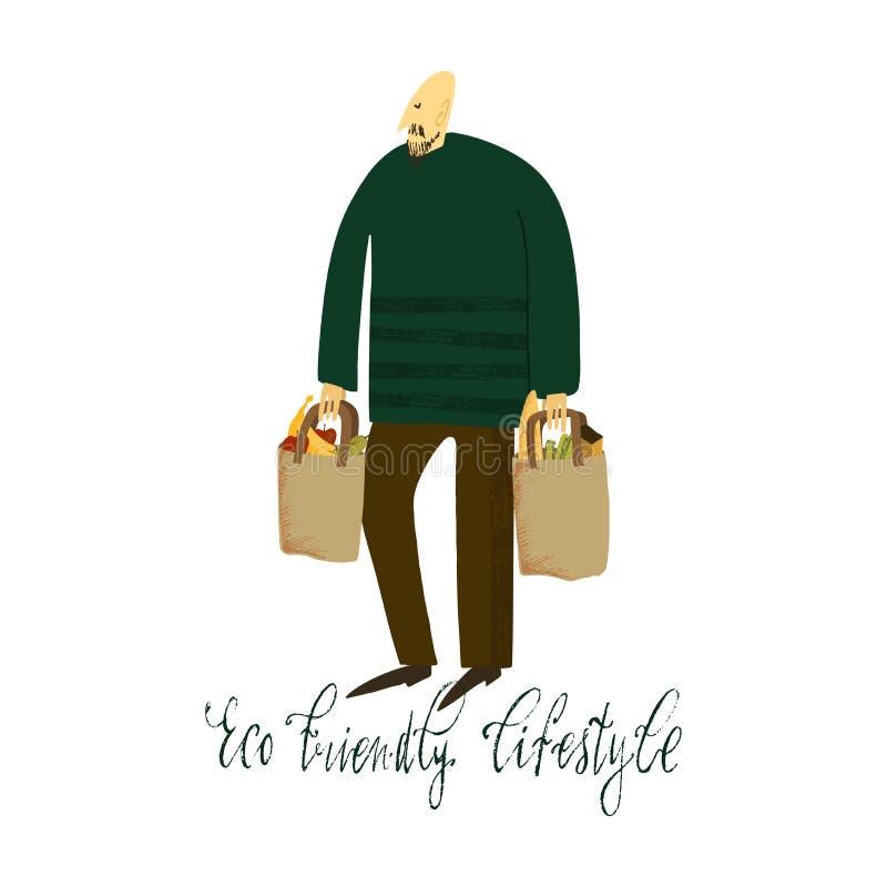 Vita residua zero Stile di Eco nessuna plastica acquisto di eco Uomo con le borse di eco Illustrazione disegnata a mano di vettor royalty illustrazione gratis