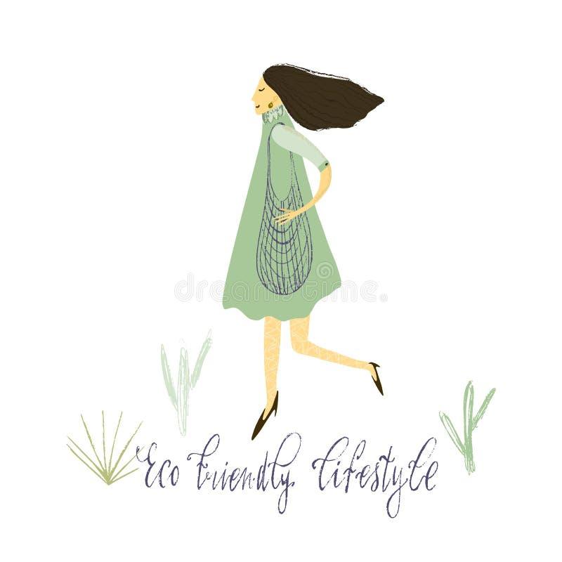 Vita residua zero Stile di Eco nessuna plastica va il verde Donne con la borsa di eco Illustrazione disegnata a mano di vettore illustrazione vettoriale