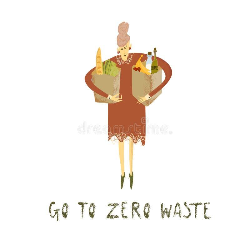 Vita residua zero Stile di Eco nessuna plastica va il verde Donne con le borse di eco royalty illustrazione gratis
